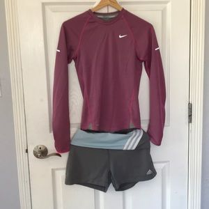 Nike long sleeve top and free adidas pants workout
